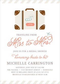 "Throw your travel-themed party with the Cutesy Carry On <a class=""crosslink"" href=""https://www.basicinvite.com/wedding/bridal-shower-invitations.html"" target=""_self"" alt=""Custom Bridal Shower Invitations Online"" title=""Custom Bridal Shower Invitations Online"">Bridal Shower Invitations</a>. These invitations feature a cute illustration of luggage with travel stickers. The words &quot..."
