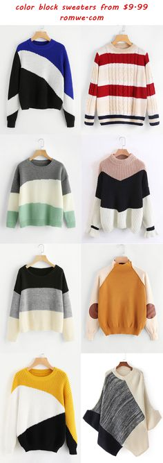 color block sweaters 2017 - romwe.com