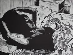 """Soothing"" linocut by Mark Rowden. http://www.wingedlionpress.com.au/ Tags: Woman, Interior, Bed, Linocut, Cut, Print, Linoleum, Lino, Carving, Block, Woodcut, Helen Elstone."
