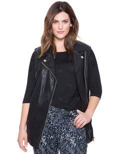 Studio Sleeveless Faux Leather Moto Jacket