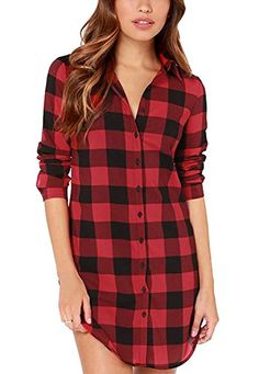 Oure Women Red Plaid Boyfriend Top Bouse Long T Shirt Dre... https://www.amazon.com/dp/B00PVXD2RE/ref=cm_sw_r_pi_dp_k4oLxbA7GHK2V