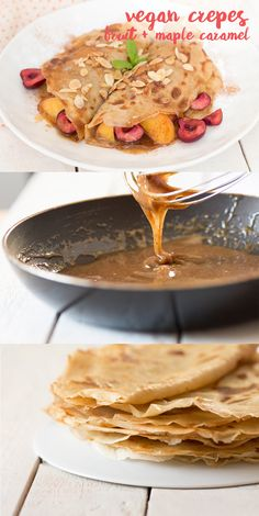 2 INGREDIENT #vegan #crêpes with succulent seasonal fruit, toasted almond flakes and #easy maple almond #caramel sauce #recipe #recipes #breakfast #dessert