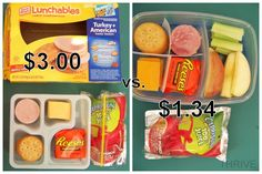 "Great ideas for kids' lunches!"" Tips on how to make cheaper, healther spins on Lunchables, bought lunches, etc. Lunch Box Bento, Lunch Snacks, Healthy Snacks, Kid Lunches, Packing School Lunches, Packing Lunch, Lunch Boxes, Cheap School Lunches, Snack Box"