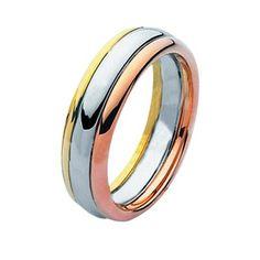 14 Kt Tri-Color Wedding Band | Item#211331 by Wedding Bands. I like the tri idea