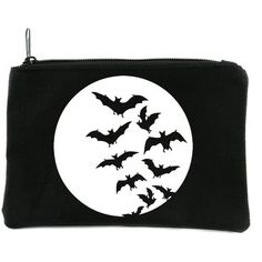 Full Moon with Bats Flying Cosmetic Makeup Bag Alternative Gothic... ($12) ❤ liked on Polyvore featuring beauty products, beauty accessories, bags & cases, make up purse, makeup purse, dop kit, toiletry kits and cosmetic purse