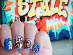 Toxic Vanity: Hip Hop Nails : 1# Wild Style Queer Fashion, Hip Hop Fashion, Wild Style, Love Nails, Fun Nails, Graffiti Nails, Hip Hop Women, Womens Institute, Hip Hop Girl