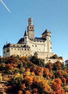 Marksburg Castle is a fortress above the town of Braubach on the Rhine River, Germany