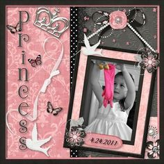 Princess Page...with crown & photo frame.  I have to scrap this tonight!   #scrapbook #page #layout  Come to Oklahoma for a weekend retreat.  http://scrapnparadise.webs.com