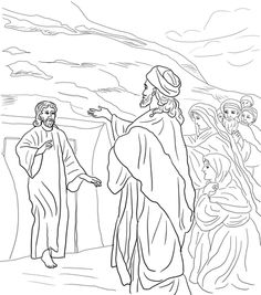 Jesus Raises Lazarus From The Dead Coloring Page