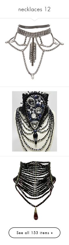 """""""necklaces 12"""" by thesassystewart on Polyvore featuring jewelry, necklaces, accessories, choker, choker necklaces, grey, rhinestone choker necklace, chandelier necklace, grey necklace and pre owned jewelry"""