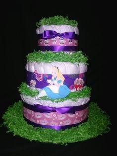 Alice In Wonderland Diaper Cake - http://www.babyshower-decorations.com/alice-in-wonderland-diaper-cake.html
