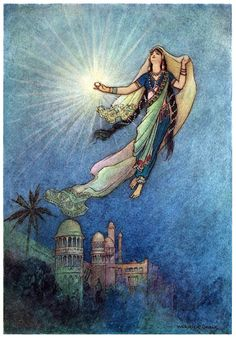 She took up the jewel in her hand, left the palace, and successfully reached the upper world. Warwick Goble, from Folk-tales of Bengal, by Lal Behari Day, London, 1912. (Source: archive.org)