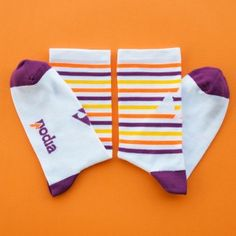 Striking a balance between the classic white cycling sock and the playful colours of Podia. The