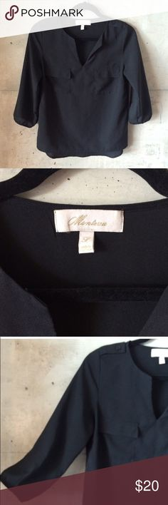 MONTEAU semi sheer black 3/4 sleeve top Montreal black semi sheer top with v slit  Condition: preowned, no holes or stains, normal wear from washing and wearing  Color: black  Measurements: Size small Underarm to underarm is approximately  17 1/2 inches across.  Length from back of neck to bottom of hem is approximately  25 inches.  Features: chest pockets with flaps, buttoned tabs on shoulders, 3/4 sleeves with button closures, straight hem in front, rounded hem in back  Materials: 100%…
