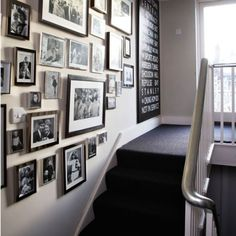 I'm thinking dark carpet! love this look with the white staircase, photos and… Living Room Carpet, My Living Room, Hallway Pictures, White Staircase, White Hallway, Black Stairs, Hallway Walls, White Walls, Glamour Decor