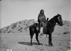 Outdoor portrait of Native American (Ute) man (on horseback) - Poley - 1894