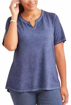 c4814f08351 NEW Womens Plus Terra   Sky Insigna Blue Notch Split V-Neck Shirt Tee 4X  28W-30W