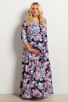 Ivory Floral Bottom Plus Maternity Maxi Dress | Maxi Dresses, Ivory And  Maternity Maxi