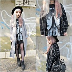 Get this look: http://lb.nu/look/7878598 More looks by Federica D: http://lb.nu/vanillasyndrome Items in this look: Sheinside Grey Jacket, Romwe Plaid Black Blouse #edgy #gothic #grunge