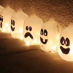 Save your milk jugs and make fun spirit jugs instead of pumpkins. Make sure you use battery-operated candles do you don't burn the plastic!