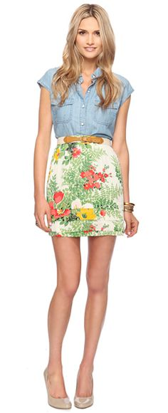 floral pencil skirt is a bit risque.. i could probably pull this off with another top.