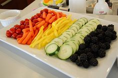 Rainbow Dash Veggie Platter. I would use Eggplant instead of blackberries on the veggie platter.