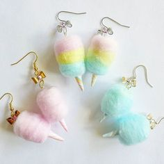 Kawaii Food Jewelry Pink Accessories Pinup Jewelry by FatallyFeminine - Pastel Cotton Candy Earrings by Fatally Feminine Designs - Kawaii Jewelry, Kawaii Accessories, Cute Jewelry, Jewelry Accessories, Jewelry Design, Prom Jewelry, Gold Jewellery, Jewlery, Candy Jewelry