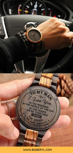 7437093139 Personalized Gifts For Boyfriend - a wooden engraved watch for men with a  custom message of