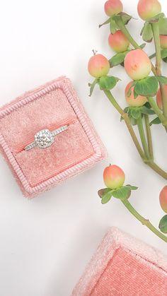 White Gold Round Diamond Cushion Halo Engagement Ring