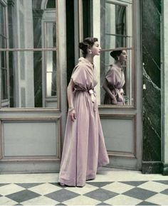 Cristóbal Balenciaga. A cowled ballgown of pale rose violet from winter 1952. Photo: Frances Mclaughlin-Gill/Vogue © Conde Nast inc 1952