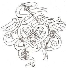 Key to My Heart Locket Tattoo 6 by ~Metacharis on deviantART Bat or dragon wings instead Adult Coloring Book Pages, Coloring Books, Coloring Pages, Colouring, Mandala Coloring, Free Coloring, Band Tattoos, Key Tattoos, Tatoos