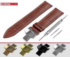 ThisDARK BROWN crocodile leather pattern embossed band in classic padded design withWHITE STITCH made of premium quality genuine calf leather is available with or without clasp. Bulova, Breitling, Seiko, Brown Flats, Casio, Fossil, Omega, Dark Brown, Rolex