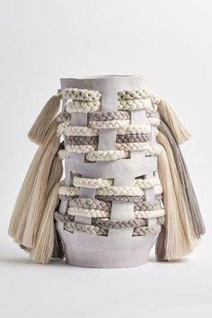 Karen Tinney One of a Kind Vessel in Natural/Gray Ceramic Tools, Ceramic Clay, Ceramic Pottery, Textile Sculpture, Sculpture Art, Advanced Ceramics, Textiles, Pottery Designs, Ceramic Design