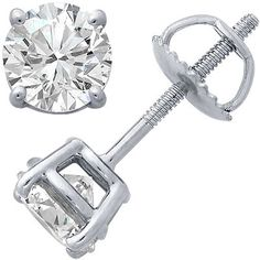 14k White Gold Four-Prong Diamond Stud Earrings – Goldia.com