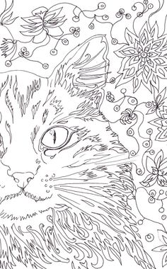 Cat Coloring Pages Art Therapy Printable Floral Digital Page Adult Colouring…