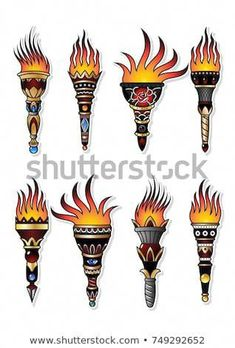 Vector Set of Ancient Torches. Traditional Tattoo Designs #timeofgettingone