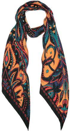 Rockins - Prickly Printed Silk Crepe De Chine Scarf - Orange