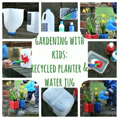 Recycled Planter and Water Jug - Gardening With Kids {Weekend Links} from HowToHomeschoolMyChild.com