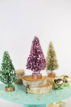 Glitter Bottle Brush Trees, http://Delineateyourdwelling.com