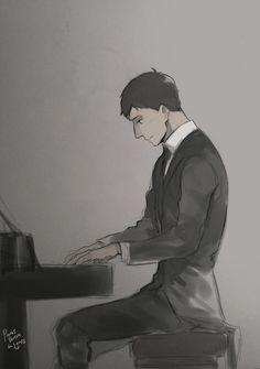 Mr. Bertl playing the piano
