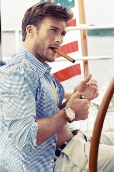 Yummy..Scott Eastwood, the 27 year-old son of Clint Eastwood,  in the October 2013 issue of Town&Country.