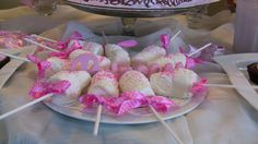 Marshmallow Pops for Baby Shower | The chocolate cake on the right was store bought and embellished with ...