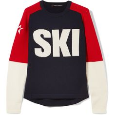 Perfect Moment Ski intarsia merino wool sweater (890 PLN) ❤ liked on Polyvore featuring tops, sweaters, navy, navy star sweater, navy blue sweater, intarsia sweaters, blue star sweater and embroidered sweater