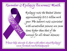 November is Epilepsy Awareness Month...because it matters. Here is our fact of the day for November 29th. Everyday there will be a new fact. Please ✓Like ✓Comment ✓Share to help spread Epilepsy Awareness .#epilepsy #epilepsyawareness