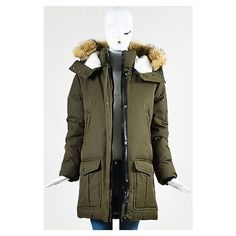 Pre-Owned Mackage Nwt $1065 Army Green Cotton Down Fur Hood... ($650) ❤ liked on Polyvore featuring outerwear, coats, green, green military coat, green coat, olive green parka, fur hood coat and fur-lined coats