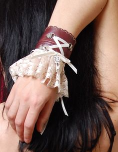 Salvaged Leather and Lace pirate Key Steampunk Wrist Cuff