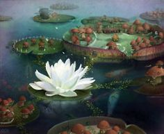 "Olivia Chin Mueller, ""Lily Pad World"". Apple Illustration, Digital Illustration, Fairy Paintings, Watercolor Paintings, Watercolors, Make A Character, Water Flowers, Lotus Flowers, Fantasy Images"