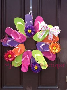 Flip Flop Wreath Perfect for Summer Decor by MJDcreativeboutique