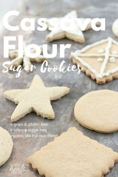 These cassava flour sugar cookies are gluten- and grain-free, naturally-sweetned, and paleo-friendly. And they taste like the real deal! No Flour Cookies, Paleo Cookies, Gluten Free Cookies, Sugar Cookies, Gluten Free Recipes, Baby Cookies, Heart Cookies, Gf Recipes, Clean Recipes
