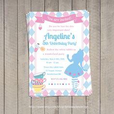 Alice in wonderland Invitation / Alice in by LittleApplesDesign, $12.00